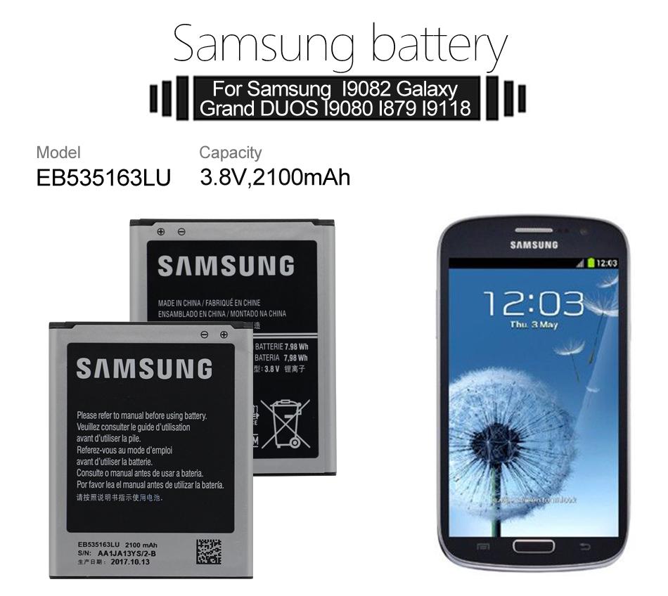 Replacement Original Phone Battery EB535163LU for Samsung Galaxy Grand DUOS I9080 I879 I9118 I9082 GT-i9082